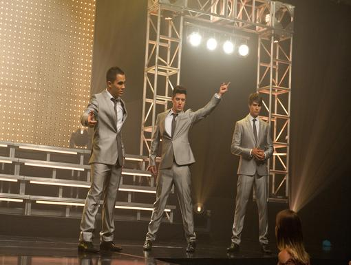 Rehearsal Carlos, Logan, and James sure look smooth in those shiny suits!