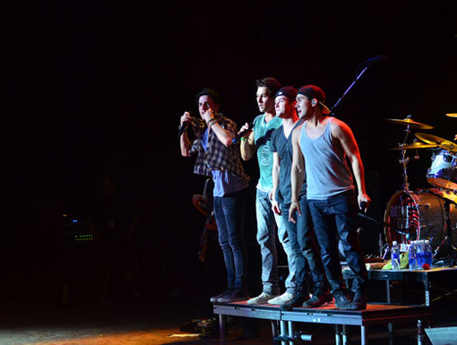Leap of Faith|It looks like the BTR boys are about to jump ship! Into a sea of screaming fans, that is...