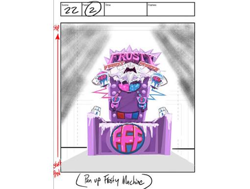 STORYBOARD 1: Scene 22, Panel 2|A storyboard is one moment of animation. This one shows the boys' first look at the Frosty Freeze machine.
