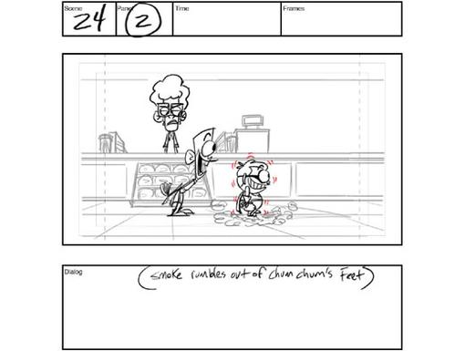 Storyboard 4: Scene 24, Panel 2|Smoke rumbles out of Chum Chum's feet as his frigid dessert fantasies come true.