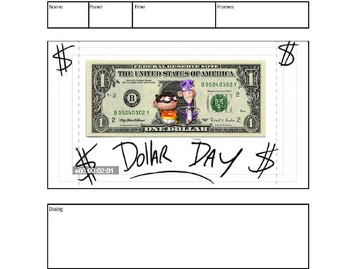 Original Title Art for Dollar Day|One of Eric Robles's first drawings for the episode is kind of a collage.