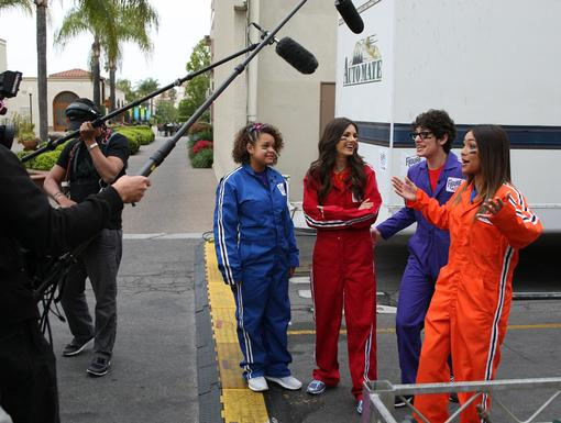 Backstage Fun|The Nick stars gang take a break backstage to chat with our camera crew. Just watch the boom pole!