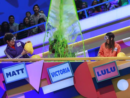 Justice is Served|Matt Bennett and Lulu Antariksa watch on as Victoria Justice gets some well-deserved slime shower.