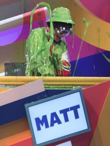 Slimey Matt|Matt Bennett gets doused with slimed for performing the secret slime action.