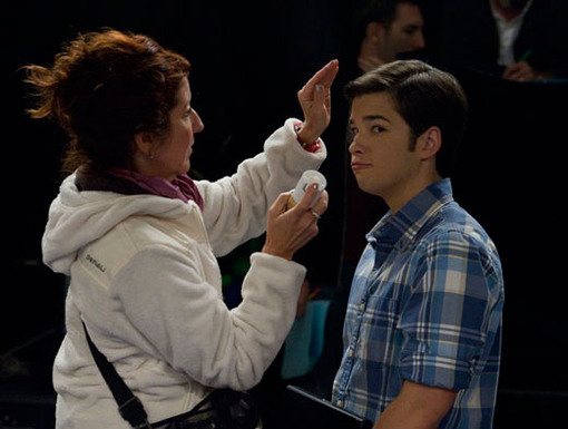How's My Hair?|Nathan Kress makes sure to get that fetching Freddie look just right before the cameras start rolling.