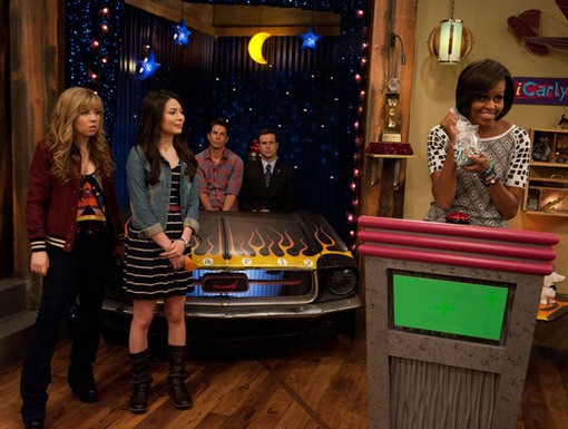 Star of the Show|The iCarly cast watches in awe as the First Lady shines on screen! Did you really expect anything less?