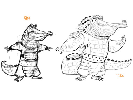 Crocodile cronies Gary and Dirk don't look so dangerous as simple sketches.
