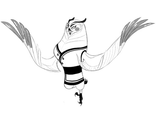 The beautiful Fenghuang is a graceful but evil owl, even as a line drawing.
