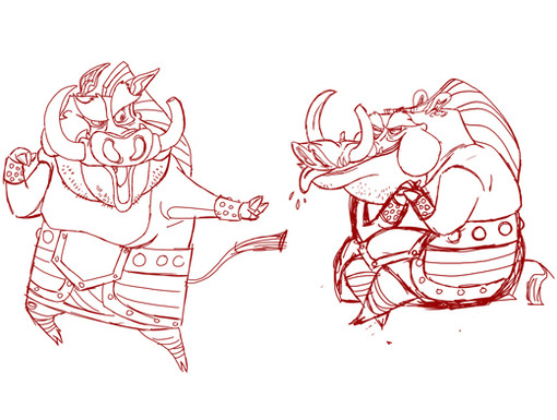 The Kung Fu Panda art squad takes a first stab at the slobbering swine, Taotie.