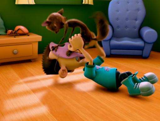Cat Fight|Ack! A cat's attacking Sheen's face! (Specifically the bologna mask on Sheen's face.)