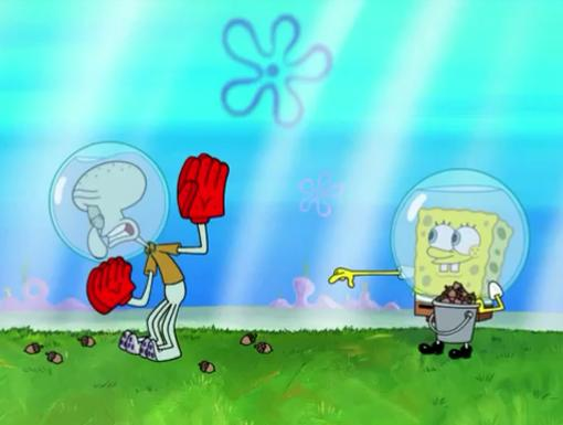 Acorn Attack|Blocking and dodging are not among Squidward's natural talents.