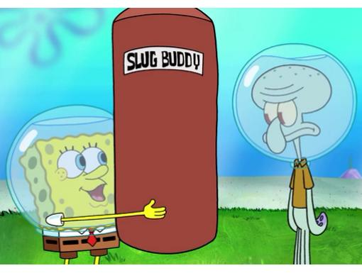 Slug Buddy|Even a shopping bag stands a decent chance against Squidward's rubbery arms and flabby midsection.