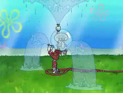 Squid Sprinkler|Squidward waters the lawn. Luckily this fountain doesn't shoot ink.