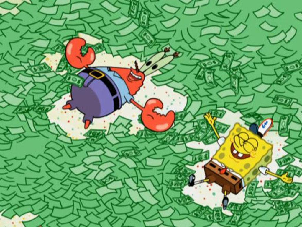 spongebob squarepants mr krabs hearts money