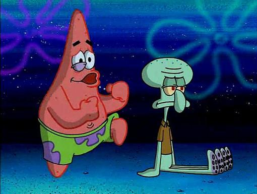 Boogie Workout|Whew! Dancing can be tough. No wonder why Squidward didn't join in!