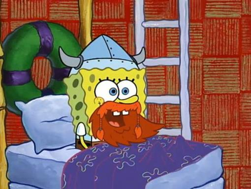 Arrrrrrg! | SpongeBob celebrates Leif Ericson Day with a Viking helmet and orange beard.