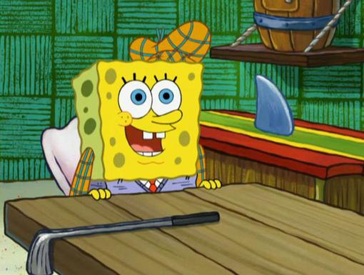 Golf Guru |Check out SpongeBob flaunting his fancy golfing gear with a hat to match!