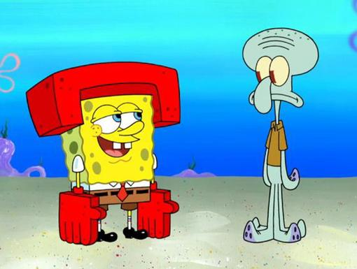 Karate Kickers |We're loving this stylish protective gear! SpongeBob gives Squidward a lesson in kah-rah-tae.