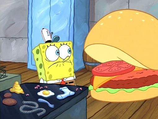 Krabby Cook|A slouchy SpongeBob imagines talking to a giant Krabby Patty in the kitchen! Is that really a sock he's frying?