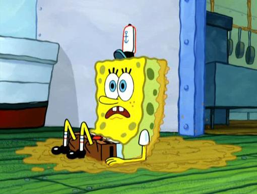 Slippery Service|What a mess, good thing SpongeBob is so absorbent.