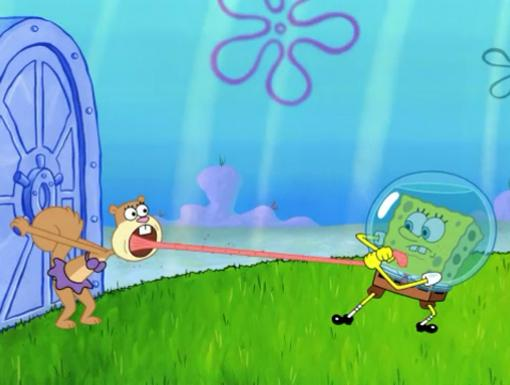 The Super Spongy Square Games|SpongeBob will try ANYTHING to cure Sandy's Fan Fever.