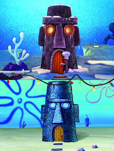 A Touch of Cheer|Squidward also gave his house's eyebrow some holiday spirit!