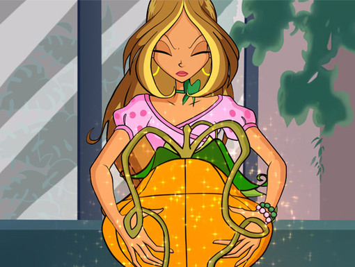 Pumpkin Power|As the Fairy of Nature, Flora pulls some power from this pumpkin to help her Winx friends.