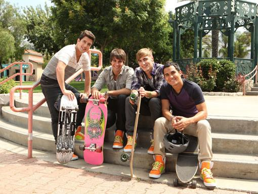 Skater Boys|The boys of BTR are ready to get cruisin' on these sweet skateboards. Ollie away, guys!