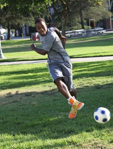 Goaaal!|Leon Thomas has got some serious soccer skills. This straight shot was nothin' but net!