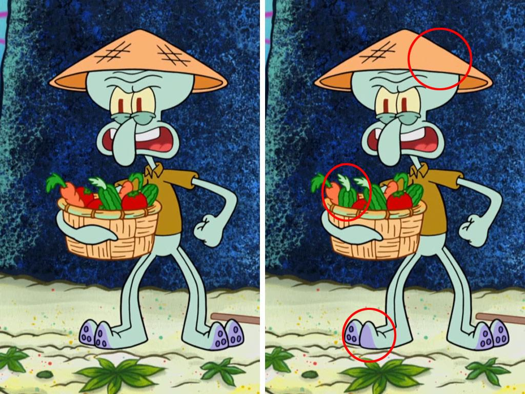 It looks like Squidward didn't spot 'em all this time... did you?!