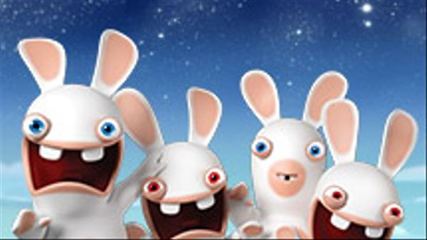 "Rabbids Invasion: ""Rabbid Race to the Moon/Rabbid Games/Rabbid Test N°98005-c: the Blue Rabbid"""
