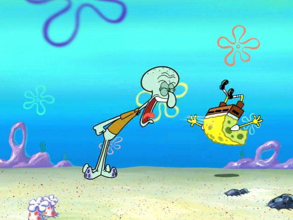 Screaming Squid Squidward Screaming At Spongebob