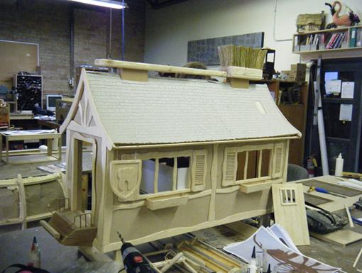Dental Den|Glenn Martin, D.D.S. set designers drill away at a rustic, winter cabin that will replace the RV in the upcoming Christmas special.