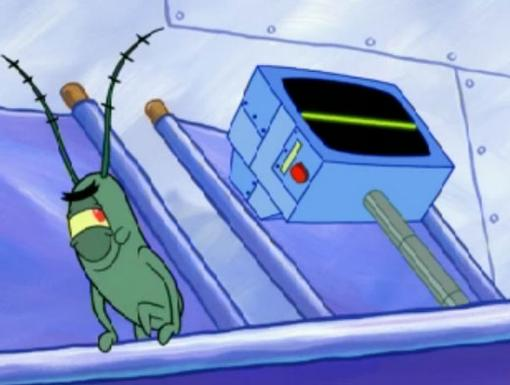 Plankton sneaks off to do his mischief while Karen naps on the cruise ship deck.