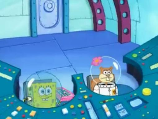 Sandy lends SpongeBob a helmet and they get ready for blastoff. Does anybody know how to drive this thing?!