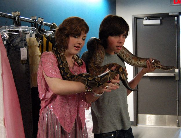 Degrassi's Aislinn Paul, Munro Chambers, and some very large snakes