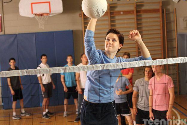 Adam spikes the ball!