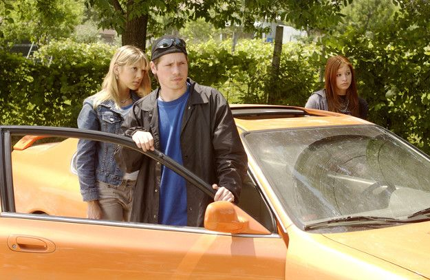 Jay Hogart, Emma, Ellie, and the car.