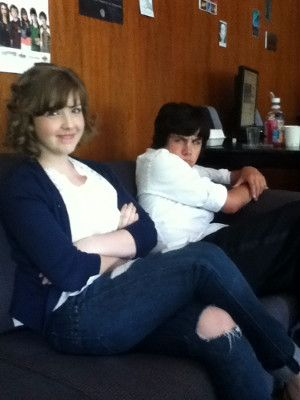 Aislinn Paul and Munro Chambers backstage