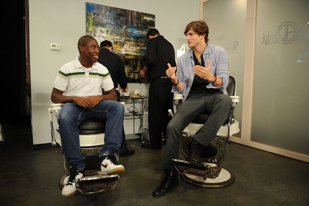 2010 TeenNick HALO Awards honoree Joshua Hall with Ashton Kutcher