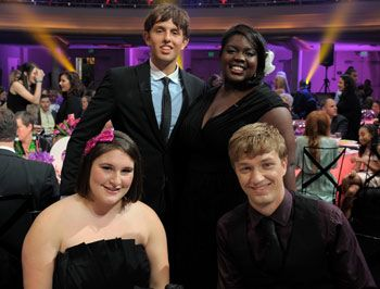Emily-Anne with HALO winners, Kyle, Shanoah, and James