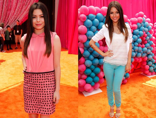 Miranda Cosgrove and Victoria Justice at the iParty with Victorious premiere