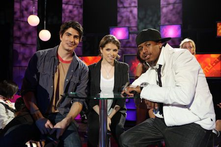 Chairman Nick Cannon with Anna Kendrick and Brandon Routh on TeenNick's The Nightlife