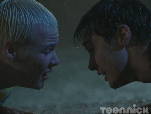 Tristan and Miles share a moment in the rain.