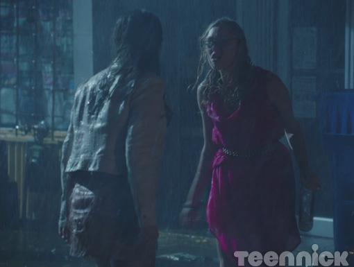 Zoe chases after Maya in the torrential downpour.