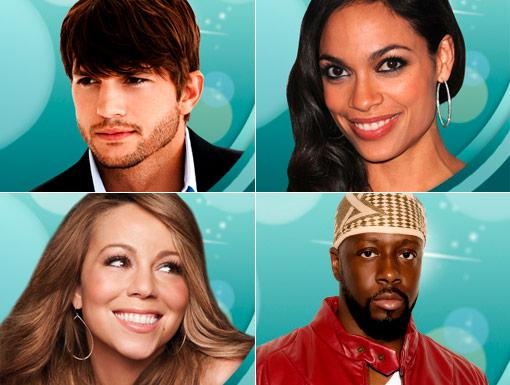 HALO 2010 Celebrities: Rosario Dawson, Wyclef Jean, Mariah Carey, & Ashton Kutcher